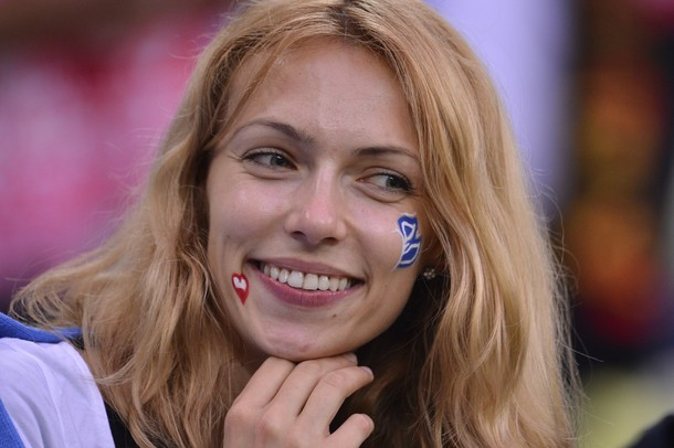 A Greek fan waits for the Euro 2012 foot