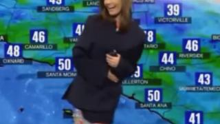 天気予報で美人女子アナのドレスが透け透け丸見えになるハプニング映像