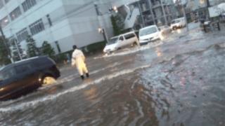 昨日の豪雨の影響か川の水の色がすごくキレイに<動画像>神奈川県大岡川が青く変色