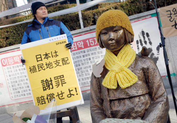 The Peace Monument symbolizing Korean Comfort Women or sex slaves during the Second World War outside of the Japanese embassy in Seoul