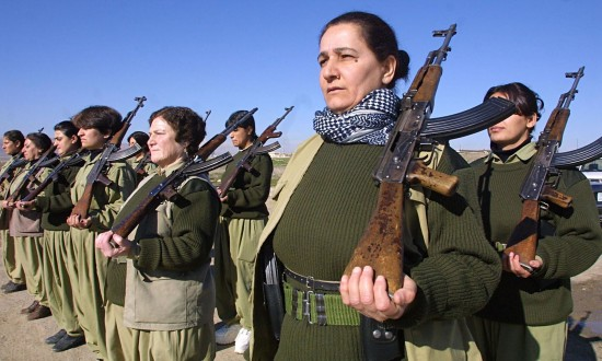 Female Kurdish peshmerga fighters in 2003