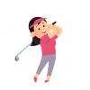 Eカップ女性がゴルフでスイングしてるだけのGIF画像
