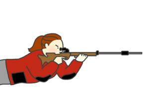 ◆衝撃瞬間◆射撃女子のお尻、揺れていた →gif画像