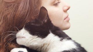 『美しい猫を抱いた女性』美しいのは猫でしょうか?女性でしょうか?